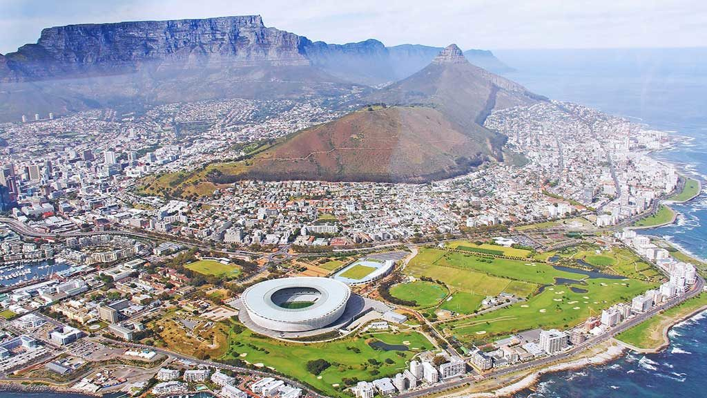 An aerial view of Cape Town taken from the bay - Africa Travel